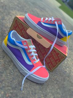 Starburst Color Vans? 🤔😍😍 Follow K$laynnn For More!!! 💗💜💛💙