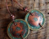 RESERVED-Brass Coins and Copper Aum Beaded Earrings