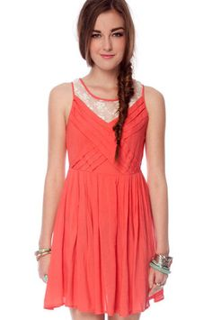 BRIDESMAIDS take a lookie!! Cut Into Pleats Dress in Coral $33 at www.tobi.com