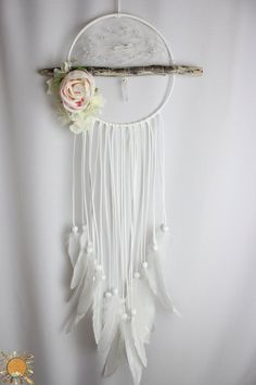 White Dream Catcher with Driftwood, Clear Quartz, Angel Aura Quartz, Hydrangeas and a Peony