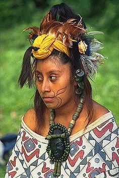 international: mayan woman with tattoos