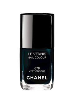 Dark, seductive and moody hues are the focus of autumn's new nail polishes. Chanel Le Vernis Nail Colour in Vert Obscur, £18.