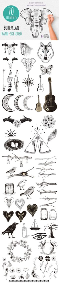 Gypsy Tales – Bohemian Sketches by Friendly Label on @creativemarket Gorgeous boho graphics package bohemian boho tribal sketches hand #drawn hand sketched wolf elephant bull horse bird skull flowers tent heart nest moon sun guitar drawings