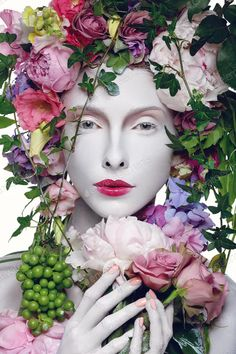 Photo about Beautiful young pale white woman with different flowers on head. Beauty shot isolated on white background. Image of female, look, headband - 89739509 Flower On Head, Flower Crown, Illustration Fantasy, Queen Photos, Flower Headpiece, Beauty Shots, Bulb Flowers, Different Flowers, Colorful Garden