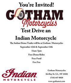 Come out to Gotham Motorcycles and test drive an Indian Motorcycle! Financing available!  #Indian #IndianMotorcycles #Motorcycles #Events #NYCEvents #StatenIsland