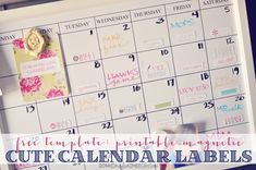 Bling out your calendar with these free printable magnetic calendar labels!