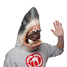 This Jaws Mask transforms you from the shoulders up into the fearsome beast from Steven Spielberg's epic, complete with an oxygen tank and Quint's hand protruding from the mouth.