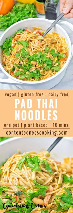 These One Pot Pad Thai Noodles are super easy to make vegan gluten free and take just 10 minutes. It's healthy fresh spicy with a lot of veggies and includes the best creamy peanut butter sauce you can ask for. Makes an amazing and satisfying dairy f Vegan Dinner Recipes, Healthy Recipes, Dairy Free Recipes, Asian Recipes, Whole Food Recipes, Vegetarian Recipes, Ethnic Recipes, Pad Thai Nudeln, Pad Thai Noodles