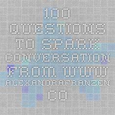 100 questions to spark conversation from www.alexandrafranzen.com