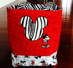 Mickey Mouse Fabric Tote Baglarge/ School by CreativeBagsForKids, $50.00