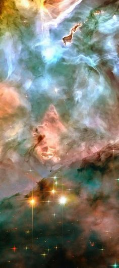 Space image: Carina Nebula pink blue and yellow pastel colors. Carefully enhanced hubble telescope picture (with a special artistic treatment), looks like a realistic painting, the colors are more vivid and vibrant than in the original photo. Looks amazin