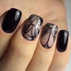 Black nails ideas, Evening dress nails, Evening nails, Evening nails by gel…