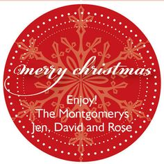 Red Snowflake Gift Stickers @studioNotes
