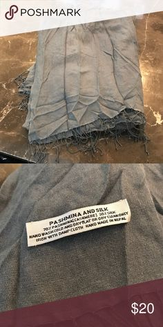 Beautiful pashmina and silk scarf/wrap Grey pashmina and silk scarf. Excellent condition. Pretty bluish smoky gray. Accessories Scarves & Wraps