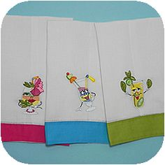 Bright Border Guest Towels   Linen comes alive with color! Our classic Hemstitched Guest Towel with a twist!  Available in seven eye-catching colors Hot Pink - A true fuchsia pink Lime Green Aqua Blue Yellow Orange Taupe Black