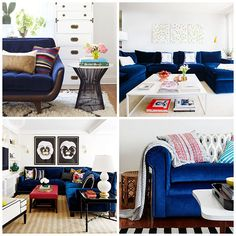 Inspiring interiors with blue velvet couches, styled many different ways. Nordic Living Room, Living Room White, Home Living Room, Living Room Furniture, Home Furniture, Blue Velvet Couch, Condo Decorating, Colorful Furniture, Family Room