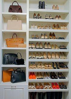 Walk In Closet Shoe Organizer Built in shoe shelves Walking Closet, Walk In Closet Design, Closet Designs, Master Closet Design, Master Suite, Master Bath, Closet Shelves, Closet Storage, Storage Drawers