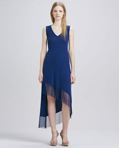 asymentrical is good for your shape.  Dress by BCBGMAXAZRIA at Neiman Marcus.