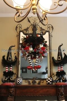 "Halloween Wreath - Wicked Witch Wreath w/Ruby Red Slippers Halloween Wreath with Matching Centerpieces..One of my best sellers  -""Halloween by gina shaffer"
