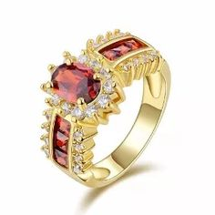 Fashion Jewelry Size 9 Bridal Garnet Gold Filled Olive Cut Rings For Womens Fashion Rings, Fashion Jewelry, Gold Plated Rings, Dress Rings, Blue Topaz Ring, Size 10 Rings, Stainless Steel Jewelry, Opal Gemstone, Anniversary Rings