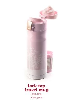 Lock top travel mug - Cool pink. Think pink with this chic leakproof travel mug, with a lock-shut top that prevents leaking.