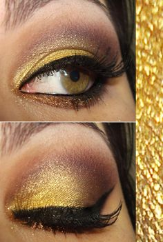 sombra-mulher-bahiana-facefront-makeup. Omg I love the gold, this would be great for my military ball! Pretty Makeup, Love Makeup, Makeup For Green Eyes, Makeup Tips, Makeup Looks, Hair Makeup, Makeup Obsession, All Things Beauty, How To Do Nails
