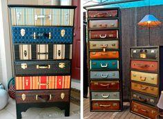 Armadio creato con il riciclo valigie vintage #DIY #suitcase #vintage