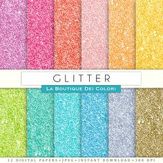 Glitter digital paper. rainbow, gold and silver glitter digital papers: scrapbooking, printables, cards, background. Pink, blue, green, yellow, red. Commercial Use