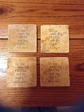 "Set of 4 Bible Verse Tumbled Marble Coasters ""2Corinthians 5:7"""