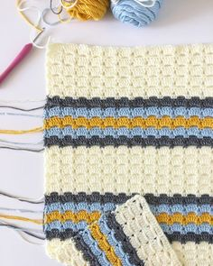 This blanket started with research of vintage stitches. I wanted to make a baby boy blanket using soft blue adding…