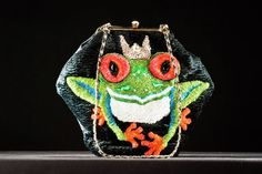 OOAK,Handmade handbag theme Frog,decorative,gold colour bag frame,embroidered with Czech glass beading,sequin, plaited chain