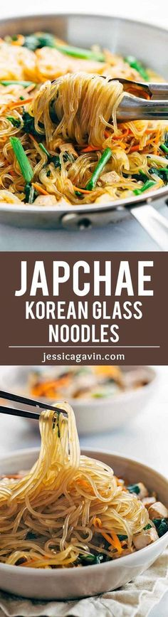 Japchae Korean Glass Noodles with Tofu - Each bite is packed with healthy vegetables and plant protein for a delicious gluten free meal. | http://jessicagavin.com?utm_content=bufferdaa95&utm_medium=social&utm_source=pinterest.com&utm_campaign=buffer