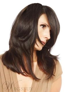 #WigsBuy - #WigsBuy Monofilament Top Medium Layered Straight Medium Brown Human Hair Wig 16 Inches #4 - AdoreWe.com