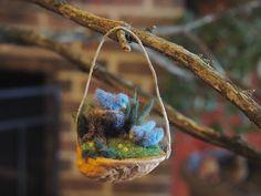 Bluebird Ornament / Needle Felted Birds in a Walnut Shell / Walnut Ornament / Miniature Wool Sculpture / Spring decor