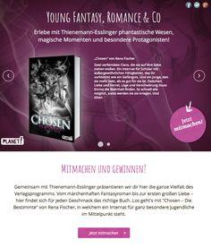 Hier könnt ihr euch zur Leserunde für #chosendiebestimmte bewerben und eines meiner Bücher gewinnen: https://www.lovelybooks.de/autor/Rena-Fischer/Chosen-1-Die-Bestimmte-1360575013-w/leserunde/1437360824/