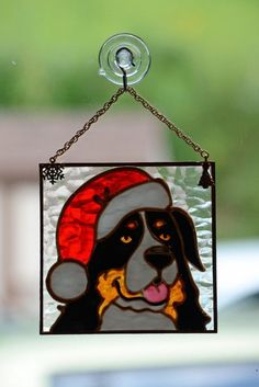 """Stained Glass Bernese Ornament"""