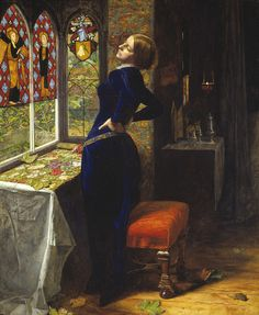 Mariana (1851) - John Everett Millais (Kells Bells comment again: I've seen this. It's incredible. The blue of her dress is basically velvet on the canvas and light shimmers off it in just the right way...)