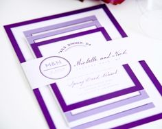 Squares love circles and I love purple - great invitation from Shine Wedding Invitations.
