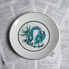 Blue Dragon Altered vintage plate by geekdetails on Etsy, $24.00