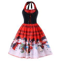 Christmas Plus Size Music Notes Halter Dress - Red 3xl Mobile Plus Size  Christmas Dresses c409269086b9