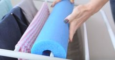 When She Wraps Her Laundry Rack With A Pool Noodle, The Result Is Brilliant