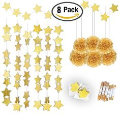 Gold Twinkle Star Garland 25Feet Gold Tissue Paper Pom Poms6pcsKonsait Sparkling Gold Star Banner Bunting and Gold Tissue Paper Flowers for Bridal Baby Showers Birthday Party Hanging Decorations -- Click image to review more details. (This is an affiliate link)
