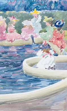 Maurice Prendergast (American, 1858–1924). A Fountain in the Public Garden (detail) from Large Boston Public Garden Sketchbook, 1895–97. Watercolor over pencil, bordered in pencil and watercolor, on paper; 14 1/8 x 11 3/16 in. (35.8 x 28.4 cm). The Metropolitan Museum of Ar