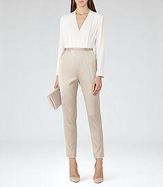 Womens White/pearl Block-colour Jumpsuit - Reiss Heisen