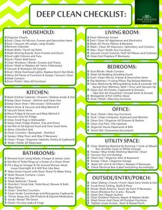 How To Deep Clean Your House - Free Cleaning Checklist Printable - Free deep cleaning checklist to print to help you deep clean your home (perfect for Spring Cleaning too! Cleaning Dust, Household Cleaning Tips, Cleaning Hacks, Diy Hacks, Deep Cleaning Tips, Moving Cleaning, Cleaning Supplies, Monthly Cleaning Schedule, Cleaning Checklist Printable