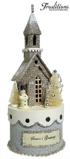 "Cody Foster Reproduction  SEASON'S GREETINGS SILVER CHURCH BOX  Paper, Tinsel, Bottle Brush & Glitter 12x5"""