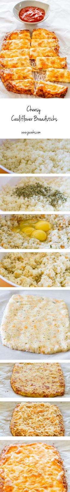 very good Cheesy Cauliflower Breadsticks – gluten free, low carb, cheesy cauliflower breadsticks! This recipe is a winner and a keeper! by lindsey Gluten Free Recipes, Low Carb Recipes, Vegetarian Recipes, Cooking Recipes, Healthy Recipes, Scd Recipes, Flour Recipes, Healthy Cauliflower Recipes, Low Carb Califlower Recipes