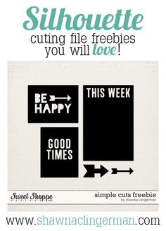 Silhouette Cut File Freebies You Will Love!   Shawna Clingerman Designs