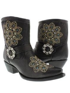 Cowboy Professional - Womens Denim Blue Leather Ankle Cowboy Boots ...