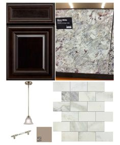 New Kitchen Palette: Tuscan Hills Arlington Java Cabinets, Stonemark Moon White Granite, Tile Shop Amalfi Marble Subway tile with medium grey grout, Fallsbrooke pendant from lowes, amerock BP149G10 nickle pulls and Behr Studio Taupe paint